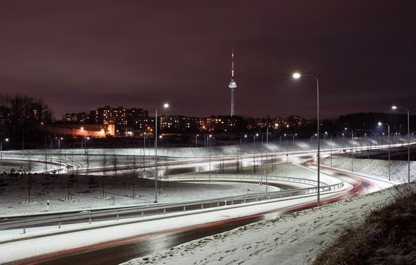 Картинка ночь, Lietuva, Vilnius