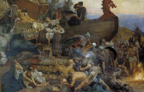 Картинка корабль, масло, Холст, костёр, горе, Генрих СЕМИРАДСКИЙ, Похороны знатного руса
