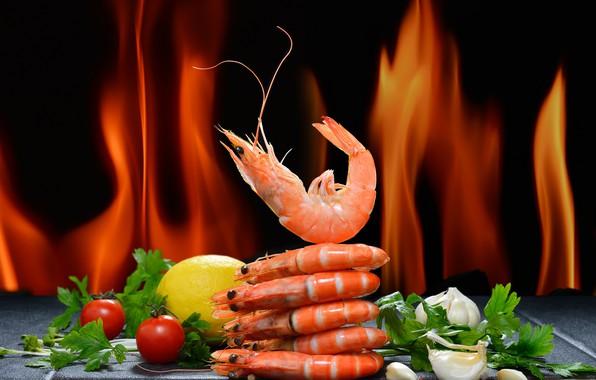 Картинка зелень, перец, томат, креветки, морепродукты, соль