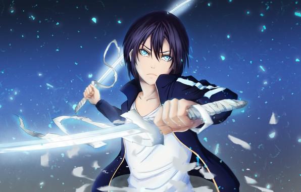 Картинка взгляд, меч, арт, парень, Бог, Noragami, Ято