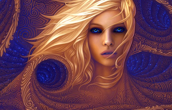 Картинка colors, colorful, abstract, girl, long hair, texture, blue eyes, lips, face, blonde, rendering, digital art, …