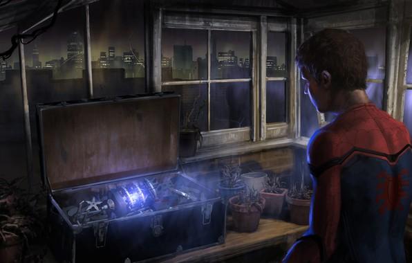 Картинка ночь, город, огни, оружие, стол, фантастика, рисунок, здание, окна, растения, арт, костюм, чемодан, ящик, реактор, ...