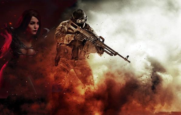 Картинка девушка, фон, магия, дым, взрывы, мужчина, пулемет, амуниция, полуголая, печенег, Cosplay, напряжение, Финк