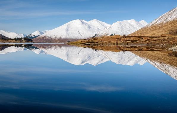 Картинка небо, горы, озеро, отражение, Шотландия, Scotland, United Kingdom, Cluanie Lodge