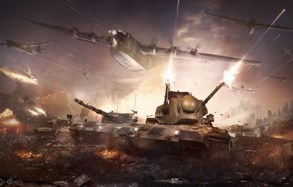 Картинка взрывы, бой, сражение, танки, самолёты, warthunder, Wildcats under fire
