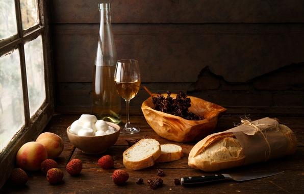 Картинка стиль, стол, вино, бокал, бутылка, сыр, окно, хлеб, нож, персики, Натюрморт, изюм, Still Life with ...
