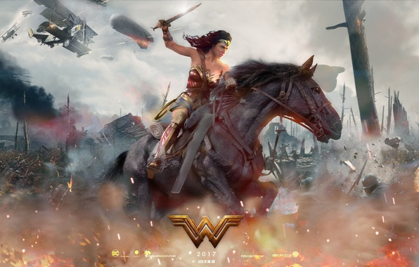Картинка cinema, fire, battlefield, flame, sword, gun, Wonder Woman, dirigible, armor, weapon, war, man, army, fight, …