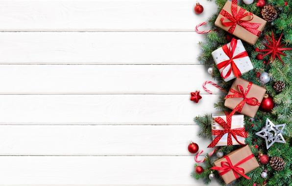 Картинка украшения, ветки, игрушки, Новый Год, Рождество, подарки, wood, merry christmas, decoration, gifts, fir tree
