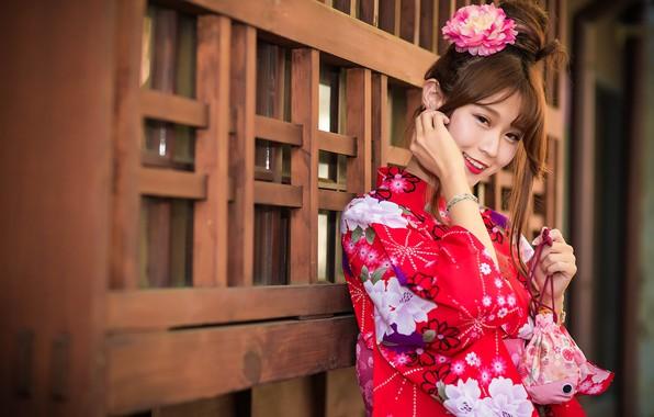Картинка девушка, улыбка, кимоно, азиатка, милашка