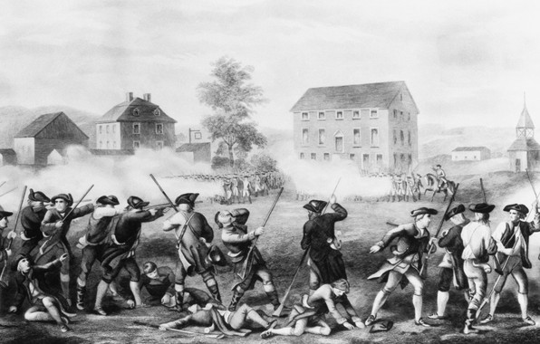 Картинка бой, чёрно-белая, сражение, 1775, Others Battle Of Lexington