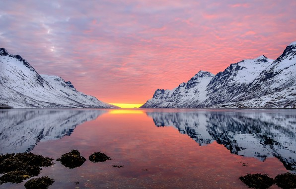 Картинка море, закат, горы