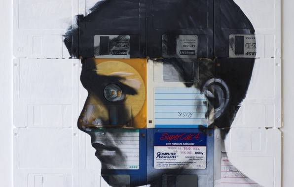 Картинка парень, дискеты, Nick Gentry, RISK