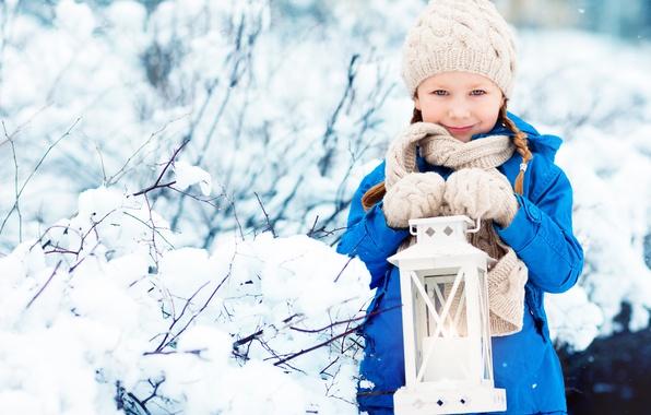 Картинка зима, шапка, ребенок, куртка, девочка, фонарь, winter, snow, child, lamp