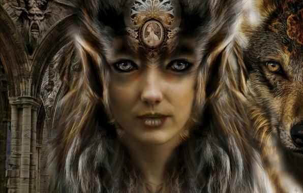 Картинка девушка, волк, арка