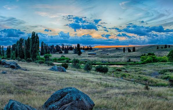 Картинка небо, трава, облака, деревья, закат, ручей, камни, холмы, поля, HDR, Австралия, домики, Snowy River National …
