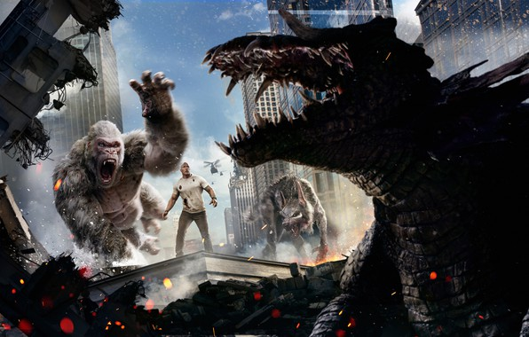 Картинка City, Action, Fantasy, Fire, Flame, White, Wolf, 2018, Dwayne Johnson, EXCLUSIVE, Movie, Kate, Film, Crocodile, …
