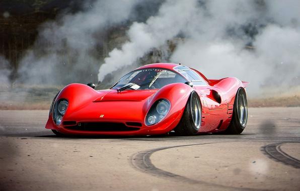 Фото обои Tuning, by Khyzyl Saleem, 330, Ferrari, Future, Red, Old, Car