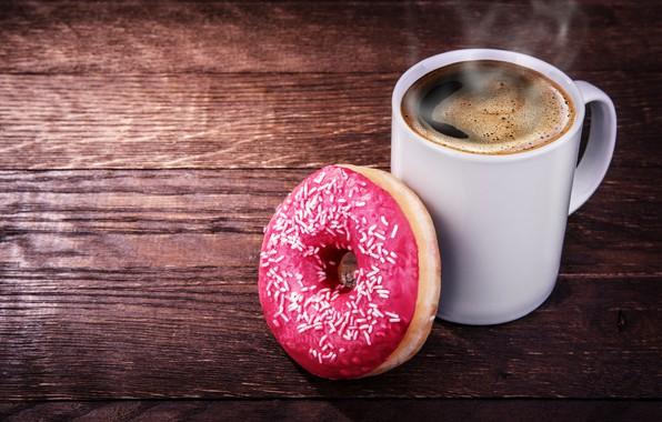 Картинка кофе, горячий, пар, кружка, белая, напиток, пончик