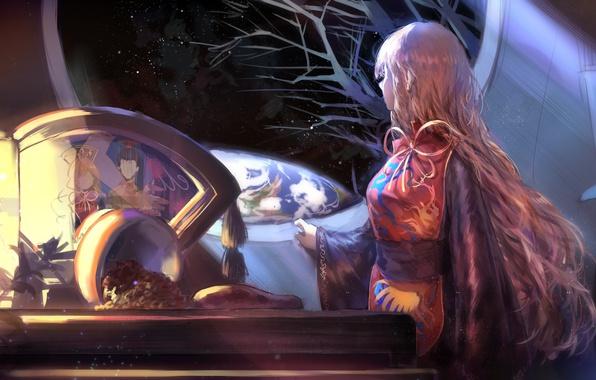 Картинка ночь, стол, окно, Земля, фонарь, длинные волосы, touhou, звездное небо, Touhou Project, Проект Восток, Junko
