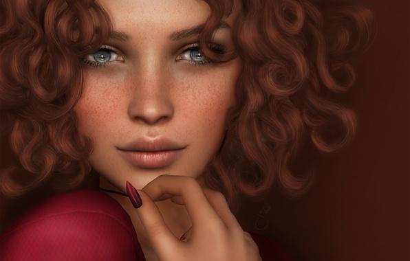 Картинка глаза, взгляд, лицо, волосы, губы