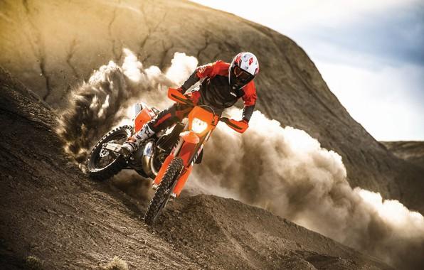 Картинка Пыль, Спорт, Скорость, Занос, Мотоцикл, Гонщик, Мото, KTM, Bike, Moto, Motorbike