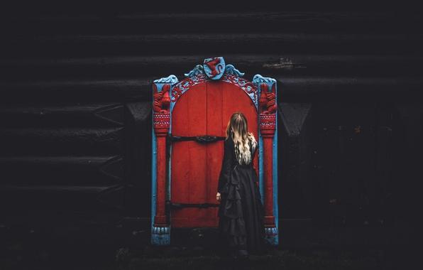 Картинка девушка, дом, дверь