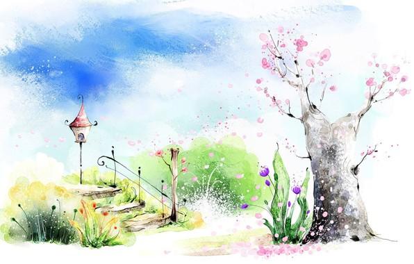 Картинка зелень, небо, облака, цветы, настроение, рисунок, весна, арт, акварель, лестница, фонарик, картинка, цветущее деревце