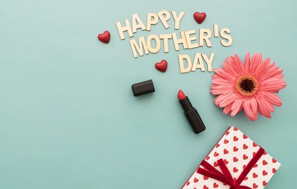 Картинка цветок, праздник, подарок, Love, happy, box, губная помада, gift, lipstick, family, hear, Mothers day