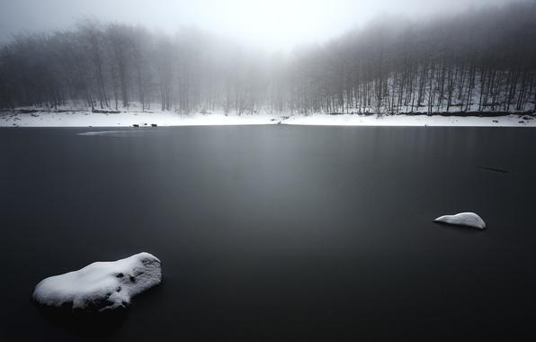 Картинка зима, туман, озеро