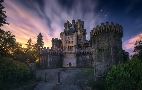 Картинка звезды, облака, свет, ночь, замок, Испания, Бискайя