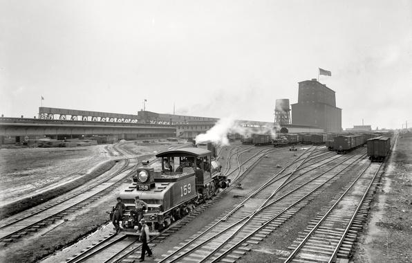 Картинка ретро, поезд, США, Новый Орлеан, Луизиана, 1900-й год, элеватор