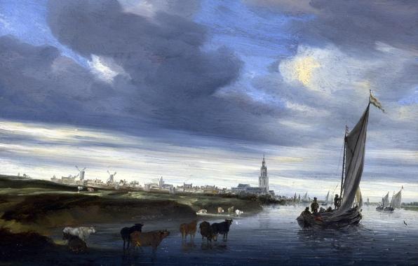 Картинка пейзаж, лодка, картина, парус, Salomon van Ruysdael, Саломон ван Рёйсдал, Вид на Девентер