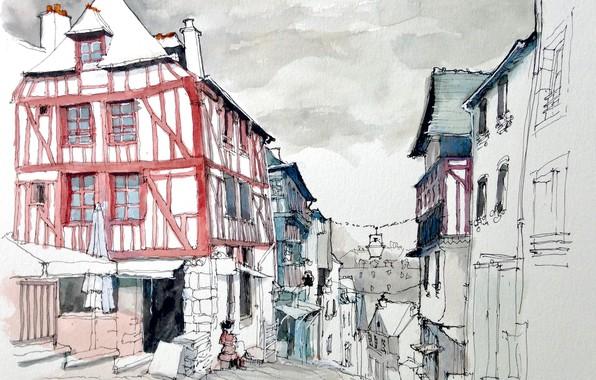 Картинка город, улица, рисунок, Франция, дома, акварель, Динан