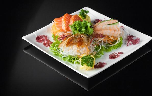 Картинка лимон, еда, рыба, нарезка, морепродукты