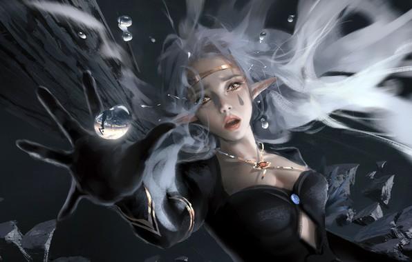 Картинка girl, fantasy, cleavage, water drops, face, painting, elf, reflection, digital art, artwork, fantasy art, fall, …