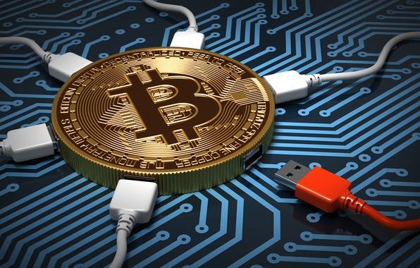 Картинка абстракция, микросхема, деньги, плата, дорожки, подключение, арт, синий цвет, центр, монета, процессор, золотая, wallpaper., bitcoin, …