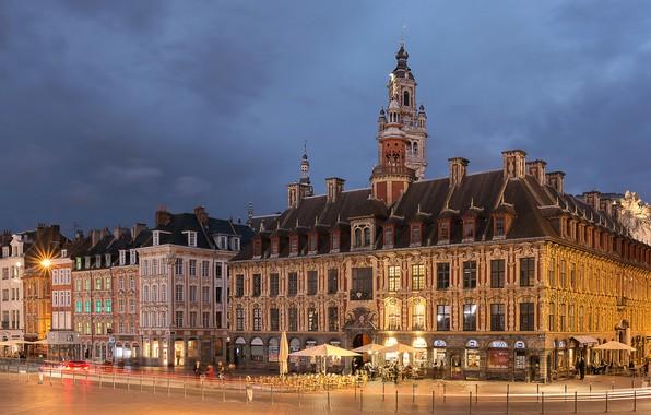 Картинка огни, Франция, здания, вечер, Lille, плошадь