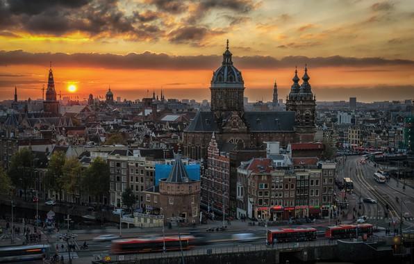 Картинка дорога, закат, машины, здания, дома, Амстердам, Нидерланды, автобусы, Amsterdam, Netherlands