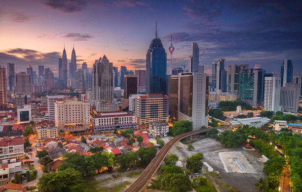 Картинка башня, небоскреб, дома, панорама, Малайзия, Куала-Лумпур
