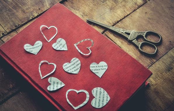 Картинка сердце, книга, ножницы