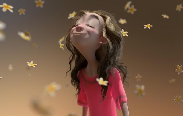 Картинка настроение, лепестки, арт, цветочки, Spring, девочка. весна, Glenn Melenhorst