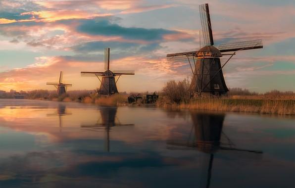 Картинка вода, закат, река, мельницы