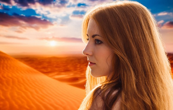Картинка dream, light, girl, summer, fantasy, desert, nature, young, model, sun, pretty, mood, look, wind, cute, …