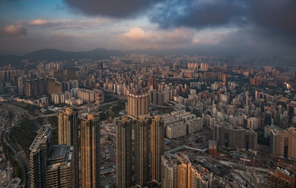 Картинка тучи, город, Гонконг, Китай