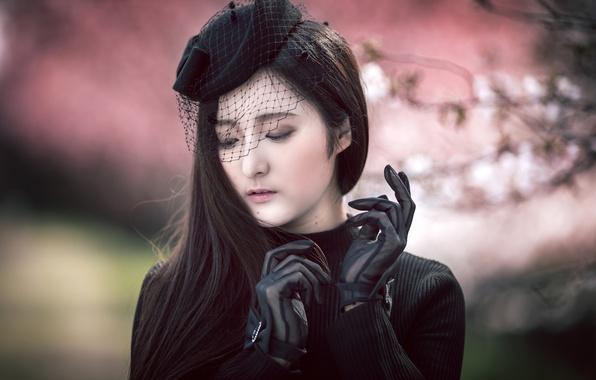 Картинка девушка, портрет, перчатки, шляпка, азиатка, вуаль, Misaki