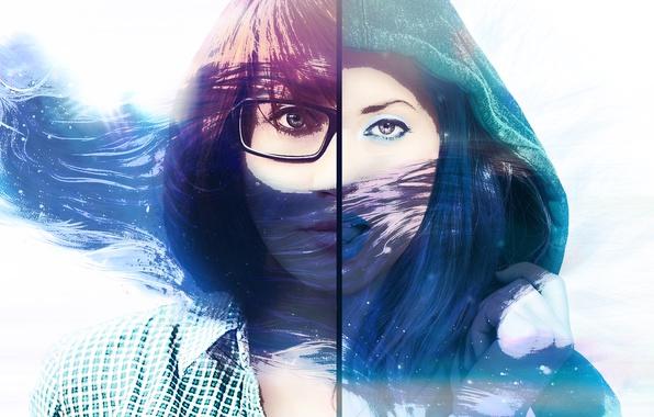 Картинка глаза, девушка, лицо, волосы