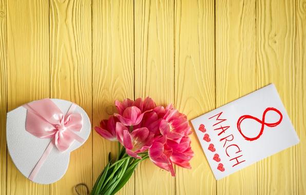 Картинка праздник, подарок, букет, тюльпаны, 8 марта, открытка, лента розовая