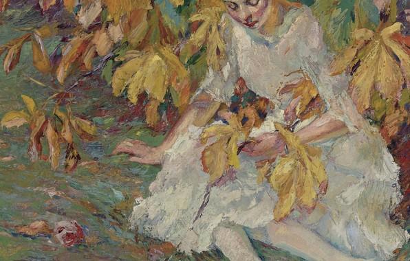 Картинка девушка, картина, Эдуард Какуел, Edward Cucuel, В Осенних Солнечных Лучах