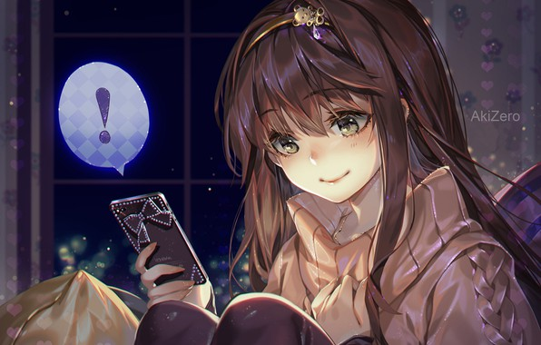 Картинка ночь, девочка, телефон, сидит, в комнате, art, сообщение, свитер, ободок, AkiZero