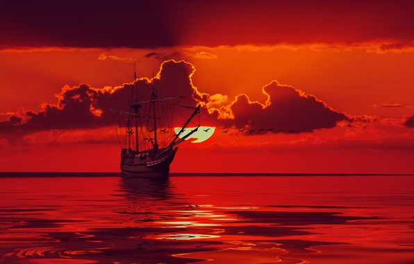 Картинка море, небо, солнце, облака, птицы, корабль, парусник, горизонт, зарево, силуэты, мачты, 3D Графика